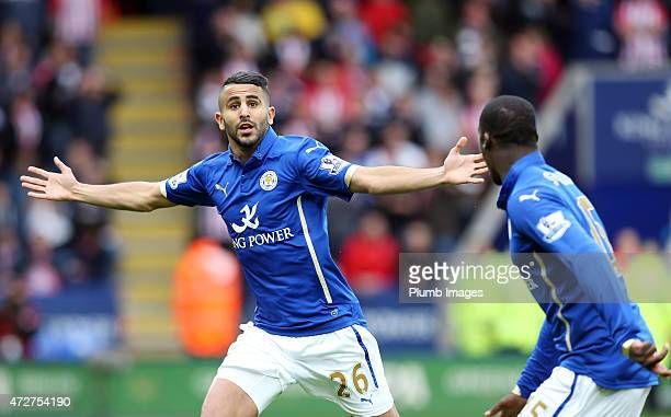 Riyad Mahrez of Leicester City celebrates after scoring to make it 10 during the Premier league match between Leicester City and Southampton at The...