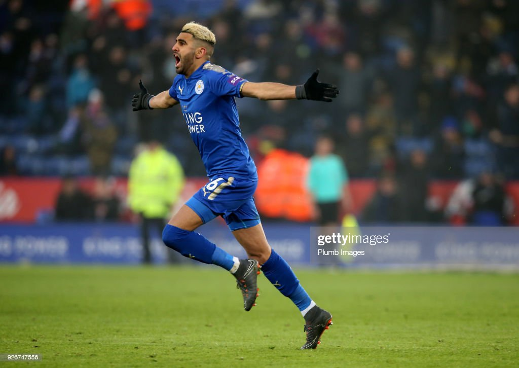 Riyad Mahrez of Leicester City celebrates after scoring to make it 1-1 during the Premier League match between Leicester City and Bournemouth at King Power Stadium, on March 3rd, 2018 in Leicester, United Kingdom