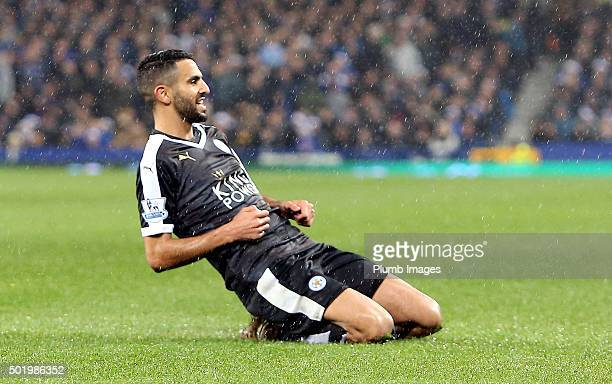 Riyad Mahrez of Leicester City celebrates after scoring to make it 12 during the Premier League match between Everton and Leicester City at Goodison...