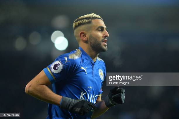 Riyad Mahrez of Leicester City celebrates after scoring to make it 20 during the Premier League match between Leicester City and Watford at The King...