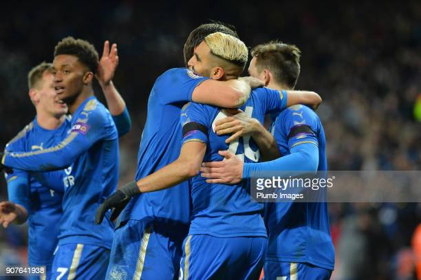 Riyad Mahrez of Leicester City celebrates after scoring to make it 20 during the Premier League match between Leicester City and Watford at King...
