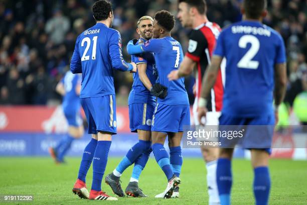 Riyad Mahrez of Leicester City celebrates after setting up Jamie Vardy of Leicester City to make it 10 during the FA Cup fifth round match between...