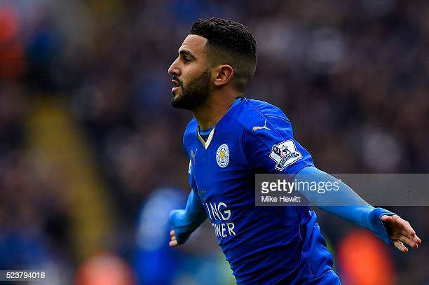 Riyad Mahrez of Leicester City celebrates as he scores their first goal during the Barclays Premier League match between Leicester City and Swansea...