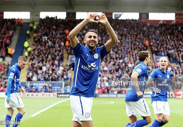 Riyad Mahrez of Leicester City celebrates his opening goal during the Premier league match between Leicester City and Southampton at The King Power...