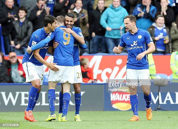 Riyad Mahrez of Leicester City celebrates his second goal to make it 20 during the Premier league match between Leicester City and Southampton at The...