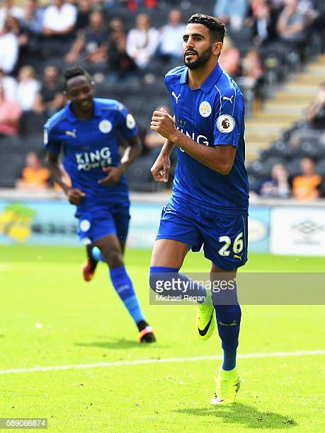 Riyad Mahrez of Leicester City celebrates scoring his sides first goal during the Premier League match between Hull City and Leicester City at KCOM...