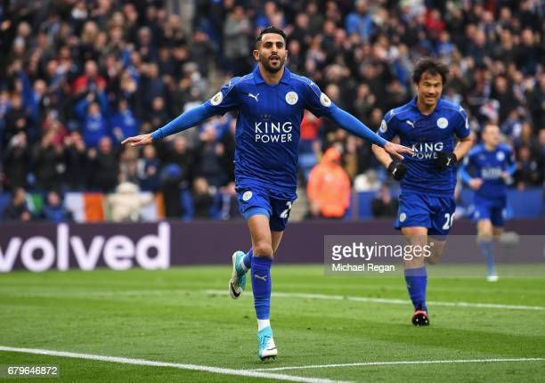 Riyad Mahrez of Leicester City celebrates scoring his sides second goal during the Premier League match between Leicester City and Watford at The...