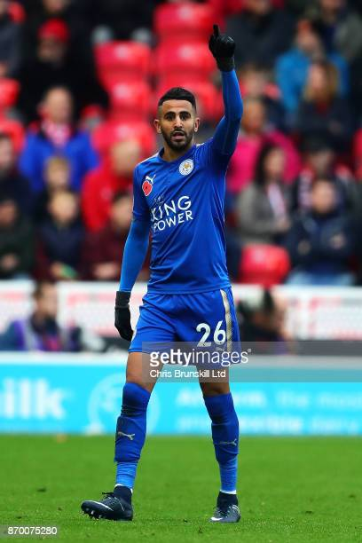 Riyad Mahrez of Leicester City celebrates scoring his side's second goal during the Premier League match between Stoke City and Leicester City at...