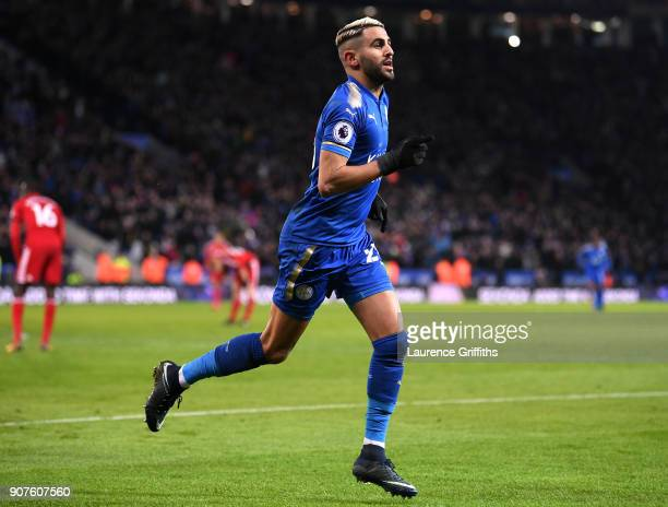 Riyad Mahrez of Leicester City celebrates scoring his side's second goal during the Premier League match between Leicester City and Watford at The...