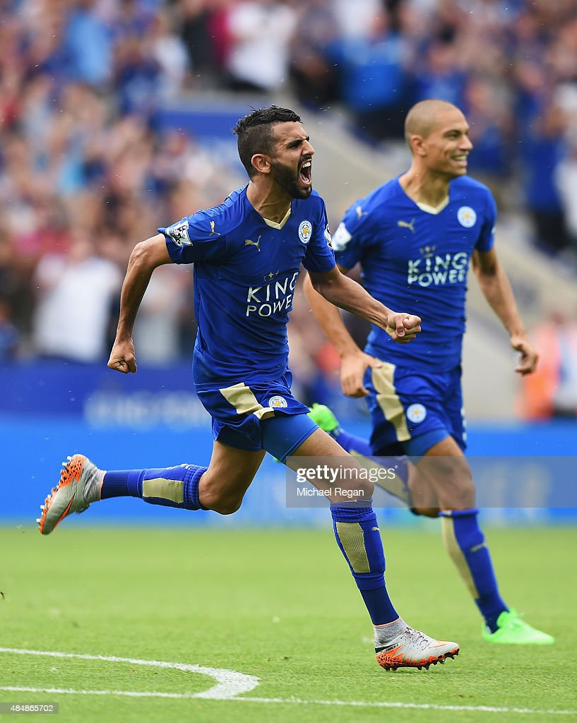 Riyad Mahrez of Leicester City celebrates scoring his team's first goal during the Barclays Premier League match between Leicester City and Tottenham Hotspur at The King Power Stadium on August 22, 2015 in Leicester, England.