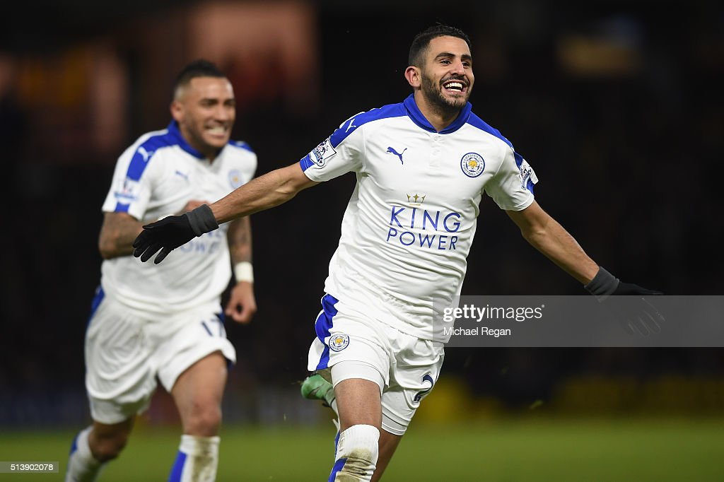 Riyad Mahrez of Leicester City celebrates scoring his team's first goal during the Barclays Premier League match between Watford and Leicester City at Vicarage Road on March 5, 2016 in Watford, England.