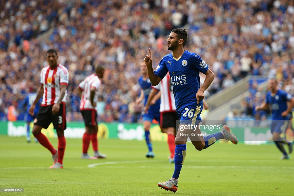 Riyad Mahrez of Leicester City celebrates scoring his team's second goal during the Barclays Premier League match between Leicester City and Sunderland at The King Power Stadium on August 8, 2015 in Leicester, England.
