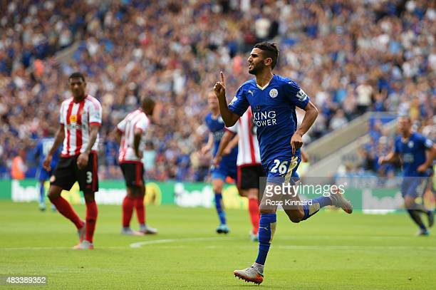 Riyad Mahrez of Leicester City celebrates scoring his team's second goal during the Barclays Premier League match between Leicester City and...