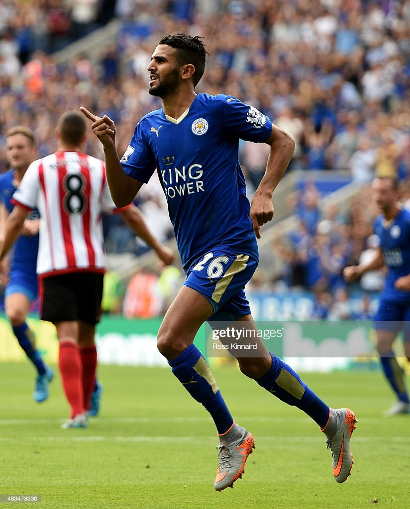 Riyad Mahrez of Leicester City celebrates scoring his team's second goal during the Barclays Premier League match between Leicester City and Sunderland at The King Power Stadium on August 8, 2015 in Leicester, England