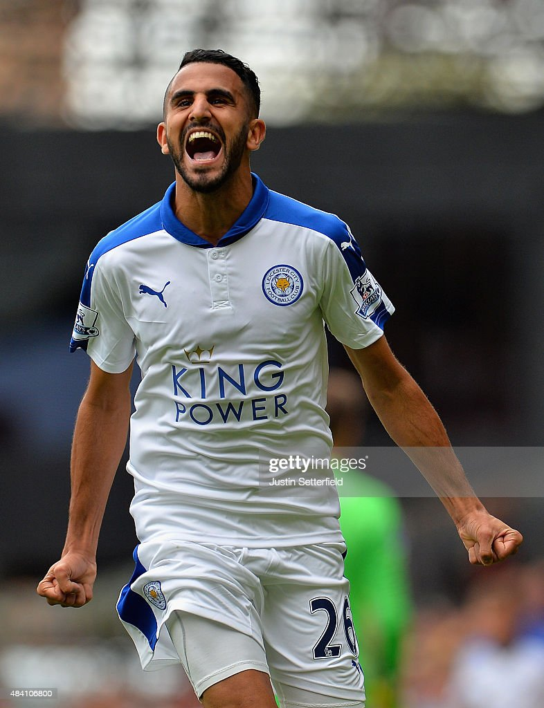 Riyad Mahrez of Leicester City celebrates scoring his team's second goal during the Barclays Premier League match between West Ham United and Leicester City at the Boleyn Ground on August 15, 2015 in London, United Kingdom.