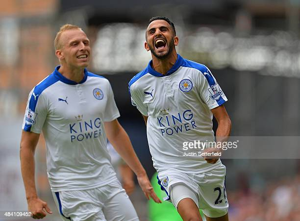 Riyad Mahrez of Leicester City celebrates scoring his team's second goal during the Barclays Premier League match between West Ham United and...