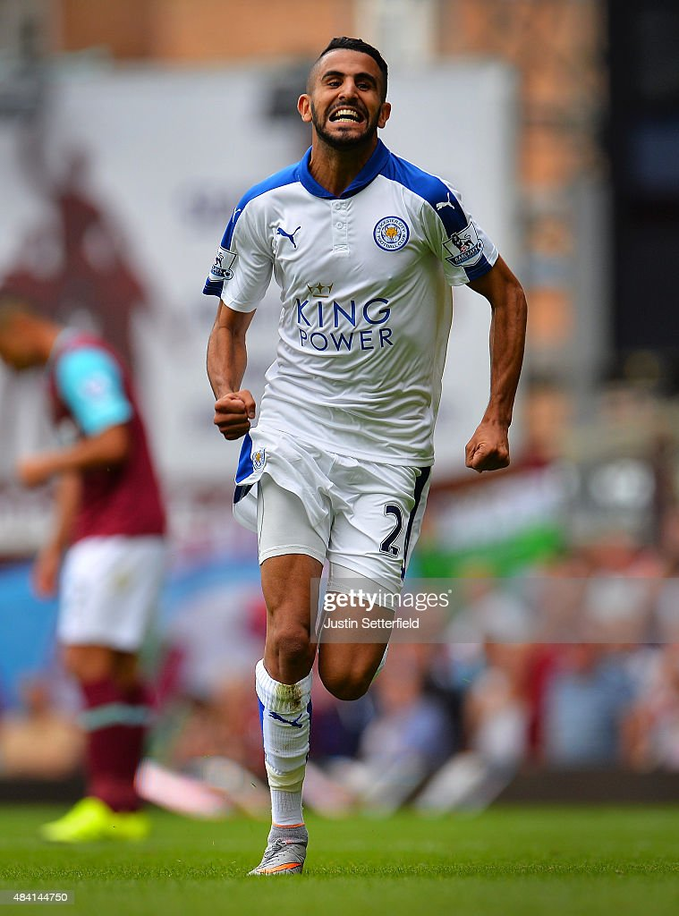 Riyad Mahrez of Leicester City celebrates scoring his team's second goal during the Barclays Premier League match between West Ham United and Leicester City at the Boleyn Ground on August 15, 2015 in London, United Kingdom. (Photo by Justin Setterfield/Getty Images