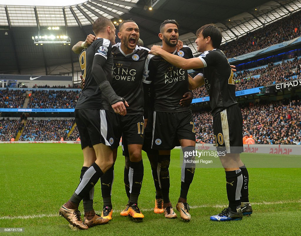 Riyad Mahrez (2nd R) of Leicester City celebrates scoring his team's second goal with his team mates Shinji Okazaki (1st R), Danny Simpson (2nd L) and Jamie Vardy (1st L) during the Barclays Premier League match between Manchester City and Leicester City at the Etihad Stadium on February 6, 2016 in Manchester, England.