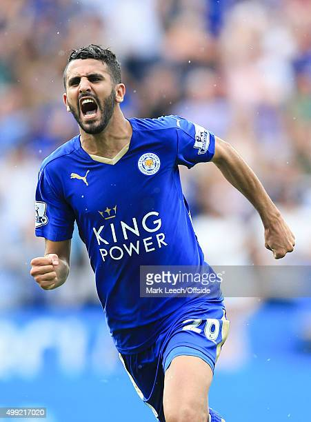 Riyad Mahrez of Leicester City celebrates scoring the equalising goal during the Barclays Premier League match between Leicester City and Tottenham...