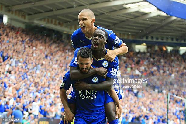 Riyad Mahrez of Leicester City celebrates scoring the equalising goal with Jeffrey Schlupp and Gokhan Inler during the Barclays Premier League match...