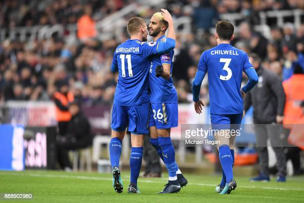 Riyad Mahrez of Leicester City celebrates scoring the first Leicester goal with Marc Albrighton of Leicester City during the Premier League match...