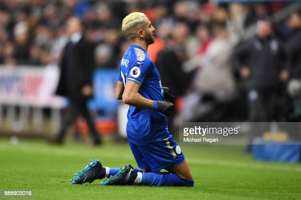 Riyad Mahrez of Leicester City celebrates scoring the first Leicester goal during the Premier League match between Newcastle United and Leicester...