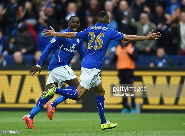 Riyad Mahrez of Leicester City celebrates scoring the opening goal during the Barclays Premier League match between Leicester City and Southampton at...