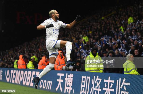 Riyad Mahrez of Leicester City celebrates scoring the opening goal during the Premier League match between Watford and Leicester City at Vicarage...