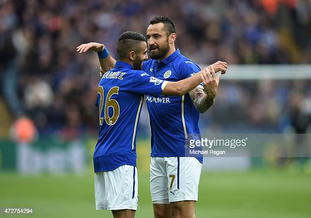 Riyad Mahrez of Leicester City celebrates scoring the second goal with Marcin Wasilewski of Leicester City during the Barclays Premier League match...