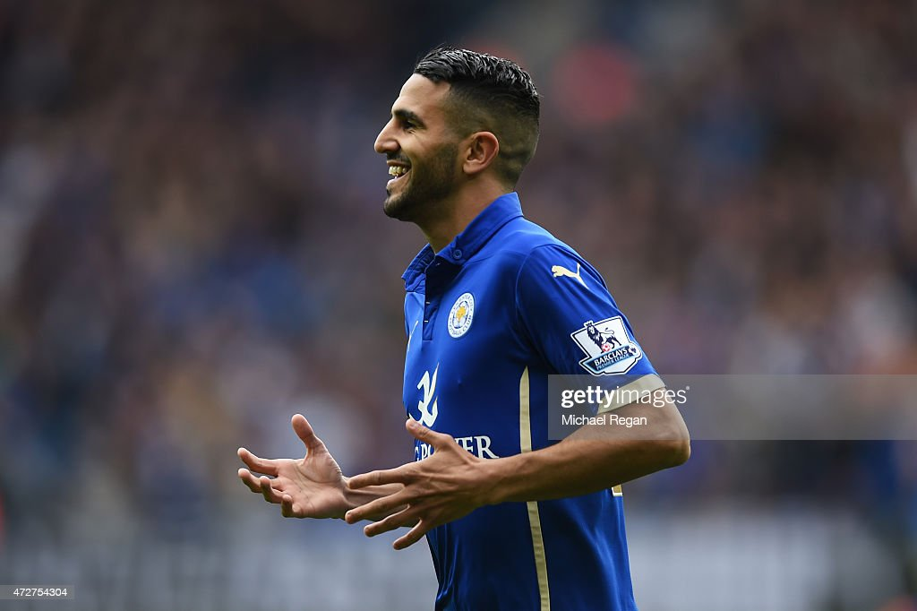 Riyad Mahrez of Leicester City celebrates scoring the second goal during the Barclays Premier League match between Leicester City and Southampton at The King Power Stadium on May 9, 2015 in Leicester, England.