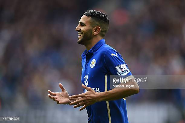 Riyad Mahrez of Leicester City celebrates scoring the second goal during the Barclays Premier League match between Leicester City and Southampton at...