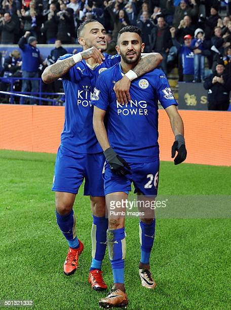 Riyad Mahrez of Leicester City celebrates with Danny Simpson of Leicester City after scoring to make it 20 during the Barclays Premier League match...