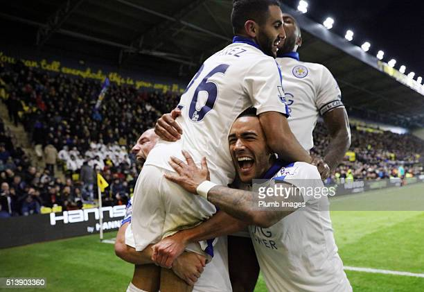 March 05: Riyad Mahrez of Leicester City celebrates with Danny Simpson of Leicester City after scoring to make it 0-1 during the Premier League match...