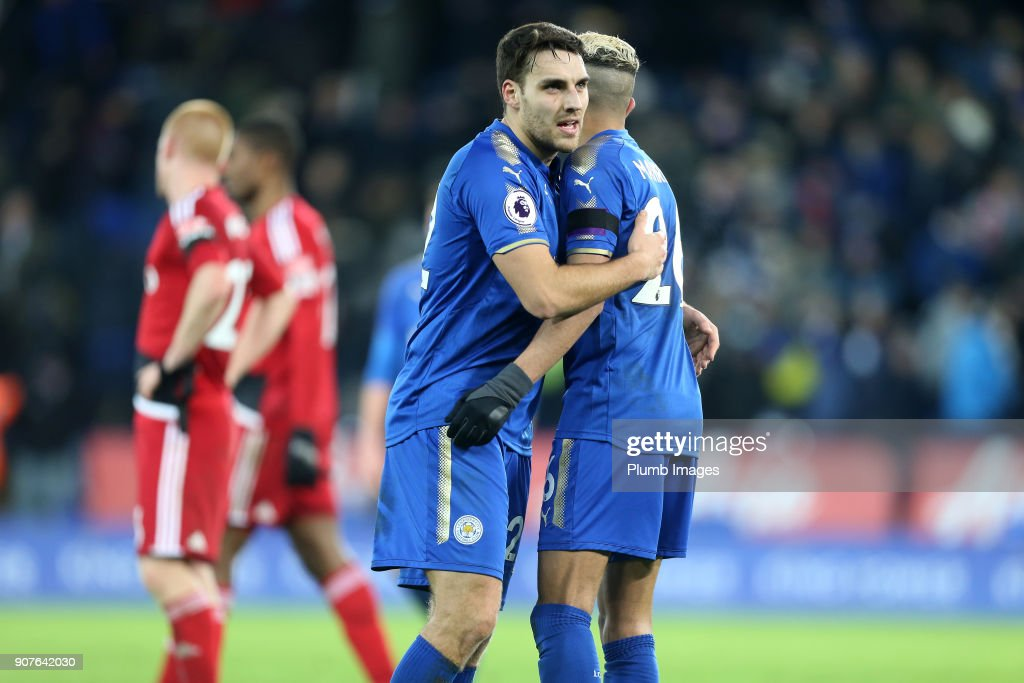 Riyad Mahrez of Leicester City celebrates with Matty James of Leicester City after scoring to make it 2-0 during the Premier League match between Leicester City and Watford at King Power Stadium on January 20th , 2018 in Leicester, United Kingdom.
