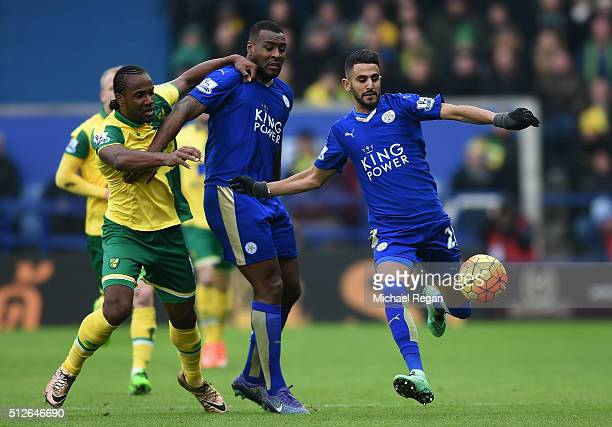 Riyad Mahrez of Leicester City controls the ball during the Barclays Premier League match between Leicester City and Norwich City at The King Power...