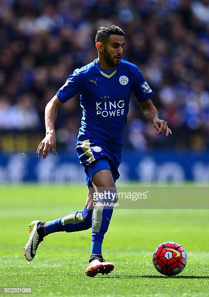 Riyad Mahrez of Leicester City controls the ball during the Barclays Premier League match between Leicester City and West Ham United at The King...