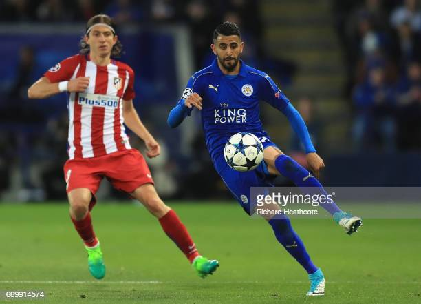 Riyad Mahrez of Leicester City controls the ball during the UEFA Champions League Quarter Final second leg match between Leicester City and Club...