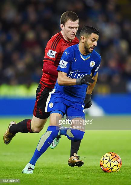 Riyad Mahrez of Leicester City controls the ball under pressure of Craig Gardner of West Bromwich Albion during the Barclays Premier League match...