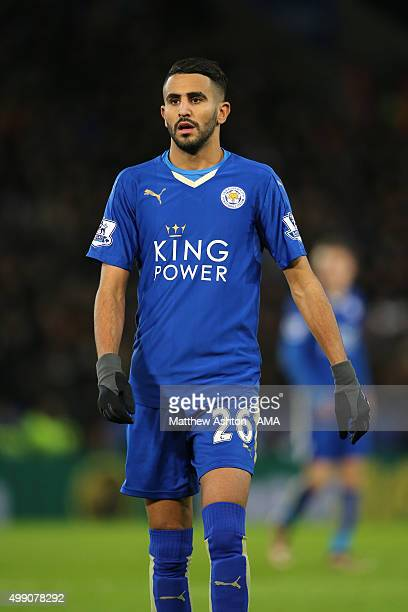 Riyad Mahrez of Leicester City during the Barclays Premier League match between Leicester City and Manchester United at The King Power Stadium on...