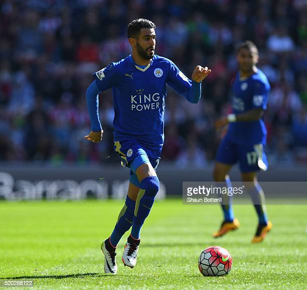 Riyad Mahrez of Leicester City during the Barclays Premier League match between Sunderland and Leicester City at the Stadium of Light on April 10...
