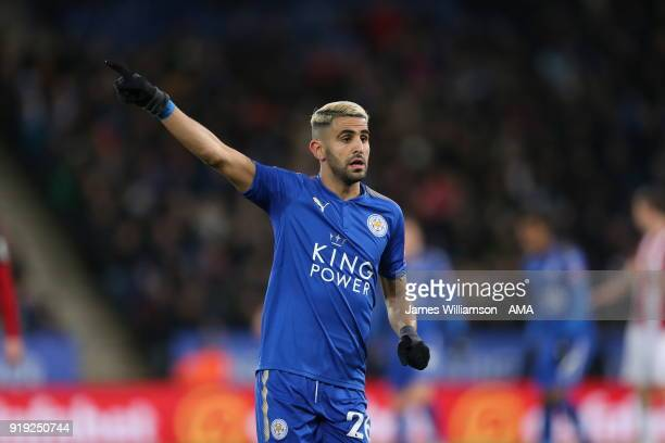 Riyad Mahrez of Leicester City during the Emirates FA Cup Fifth Round match between Leicester City and Sheffield United at The King Power Stadium on...