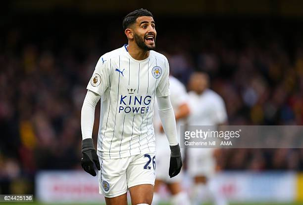Riyad Mahrez of Leicester City during the Premier League match between Watford and Leicester City at Vicarage Road on November 19 2016 in Watford...