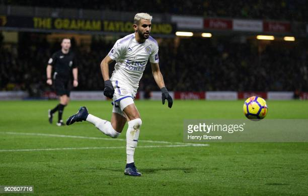 Riyad Mahrez of Leicester City during the Premier League match between Watford and Leicester City at Vicarage Road on December 26 2017 in Watford...