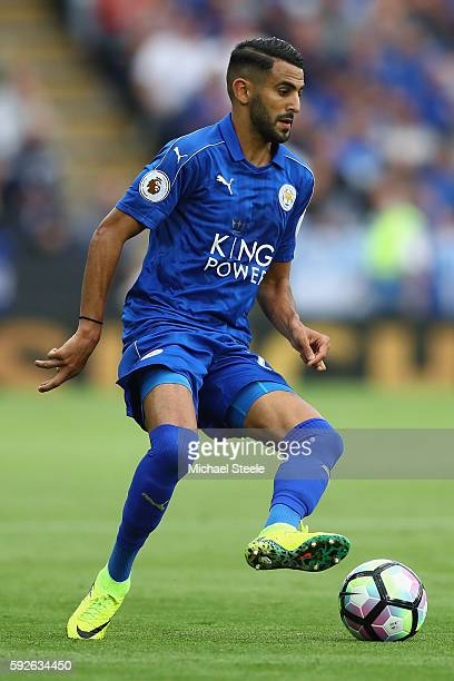 Riyad Mahrez of Leicester City during the Premier League match between Leicester City and Arsenal at The King Power Stadium on August 20 2016 in...