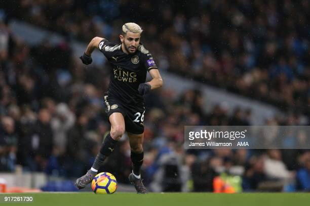 Riyad Mahrez of Leicester City during the Premier League match between Manchester City and Leicester City at Etihad Stadium on February 10 2018 in...