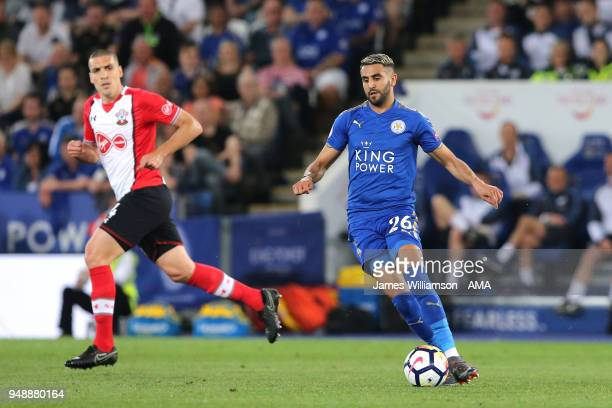 Riyad Mahrez of Leicester City during the Premier League match between Leicester City and Southampton at The King Power Stadium on April 19 2018 in...