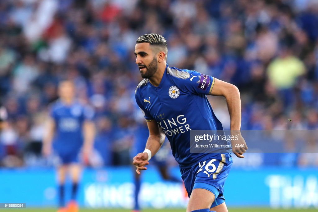 Riyad Mahrez of Leicester City during the Premier League match between Leicester City and Southampton at The King Power Stadium on April 19, 2018 in Leicester, England.