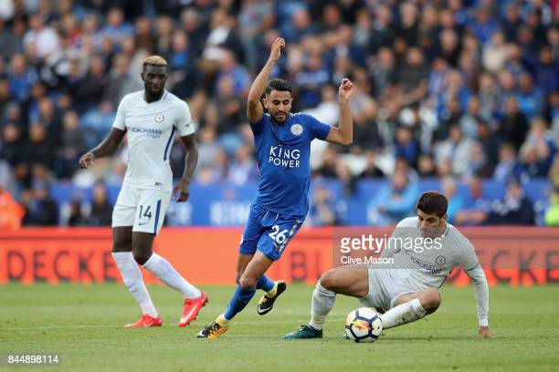 Riyad Mahrez of Leicester City escapes a challenge from Alvaro Morata of Chelsea during the Premier League match between Leicester City and Chelsea...