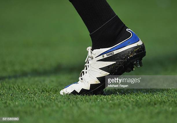 Riyad Mahrez of Leicester City fashions his new Nike 'Vahrez' boots during the Barclays Premier League match between Chelsea and Leicester City at...