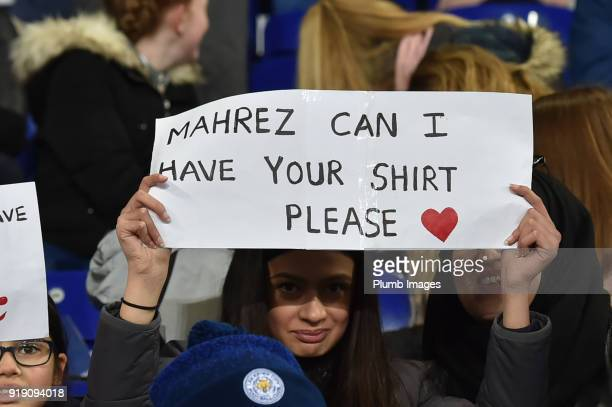 Riyad Mahrez of Leicester City has some admirers during the FA Cup Fifth round match between Leicester City and Sheffield United at The King Power...